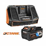 RIDGID 9Ah Lithium-Ion Battery and Charger Kit $99 (org $249)