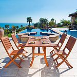 Malibu Outdoor 5-piece Wood Patio Curvy Legs Table Dining Set $270 (Org $453) & More