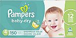 150-Ct Size 4 Pampers Baby Dry Diapers $32 & More