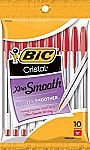 10-ct BIC Cristal Xtra Smooth Ballpoint Pen (Red) $0.97