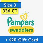 2-Cases Pampers Swaddlers Diapers + $20 Walmart Gift Card from $90 & More