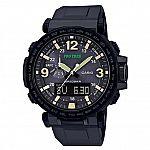 Casio Men's PRO TREK Stainless Steel Quartz Watch with Silicone Strap $159