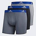 3-Pack adidas Men's Performance Boxer Briefs Underwear (Onix/Black/Grey) $14.25