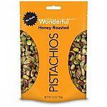 5.5-oz Wonderful Pistachios (No Shells, Honey Roasted) $3.49, 16-oz (Roasted & Salted) $5