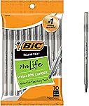 10-Ct BIC Round Stic Xtra Life Ballpoint Pen $0.74