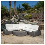 Santa Cruz 6pc Wicker Patio Sofa Set - Christopher Knight Home $699.99