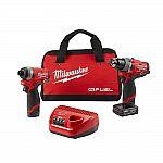 Milwaukee M12 FUEL 12-Vt Li-Ion Brushless Kit (Hammer Drill, Impact Driver & Ratchet) + 2X Batteries $179