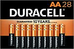 28-Ct Duracell CopperTop AA Alkaline Batteries $6.54 and more