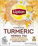 60 Count Lipton Herbal Tea Bags, Terrific Turmeric $3.48