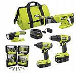 RYOBI ONE+ 18V Cordless 4-Tool Combo Kit w/(2) Batteries, Charger & Bag w/Bonus Impact Rated Driving Kit (70-Piece) $139 and more