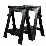 "Stanley 32"" x 26-7/8"" x 2-1/8"" Folding Sawhorse 1000 lb. capacity $19.99 and more"