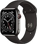 (Back) Apple Watch Series 6 GPS + Cellular, 44mm Graphite Stainless Steel Case with Black Sport Band $518