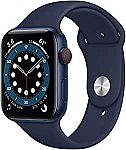 Apple Watch Series 6 (GPS + Cellular, 44mm) - Blue Aluminum Case with Deep Navy Sport Band $460