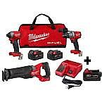 Milwaukee M18 FUEL 18-Vt Li-Ion Brushless Combo Kit (Hammer Drill, Impact Driver, Sawzall) + 3X 5.0Ah Batteries $499