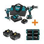 Makita 18V LXT Brushless Combo Kit with 4 X 5.0 Ah Battery & nImpact Bit Set $399.99