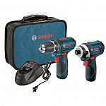 Bosch 12v PS31-2A Drill & PS41 Impact Driver Kit w/ 2 Batteries $99