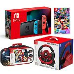 Nintendo Switch Console & Mario Kart Deluxe 8 Game with Racing Wheel & Case $480 + Get  $163 Back & More