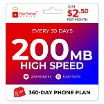 1-Yr Red Pocket Prepaid Plan: Monthly 200 Talk 1000 Text 200MB $30