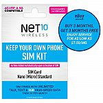 90-Day Net10 Prepaid Phone Plan: Unlimited Talk & Text + 3GB 5G/4G LTE Data (2 for $45)