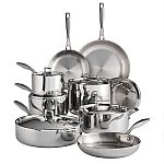Tramontina Tri-Ply Clad 14-Piece Stainless Steel Cookware Set $199.88