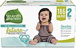 Seventh Generation Sensitive Skin Baby Diapers 186 Ct Size 2 $32, 174Ct Size 3 $33