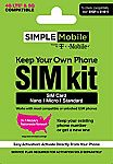 Simple Mobile SIM Kit with 30 Day Unlimited Talk & Text + 5GB Data $1