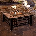 """Pure Garden Fire Pit Set 32"""" Square Wood Burning Pit $119.99"""