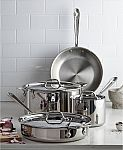 """7-Piece All-Clad 3-Ply Stainless Steel Cookware Set $217, D3 SS 7.5"""" Skillet $50 & More"""