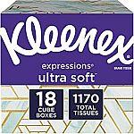 18-Pk Kleenex Facial Tissues (1170 Total Tissues) $22 & More