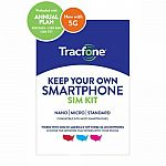 Tracfone 1-Yr Prepaid Plan w/ 1200 Min, 1200 Txt & 3GB Data $32