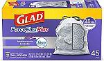 135 Count Glad ForceFlexPlus 13 Gallon Tall Kitchen Drawstring Trash Bags $18.68