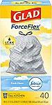 40-Ct 13-Gal Glad ForceFlex Tall Trash Bags $5.74