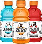 24-Pack 12oz Gatorade G Zero Thirst Quencher Fruit Punch $12.34