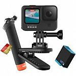 GoPro HERO9 Black + 1 Yr. Subscription + Extra Battery + 32GB Card + Swivel Clip + Hand Grip + Camera Case $350