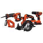BLACK+DECKER 4-Tool 20V  Cordless Power Tool Combo Kit w/ Battey $72.50 (Org $170)