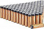 100-Pack Amazon Basics AA A Alkaline Batteries $18.04