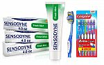 3-pack Sensodyne Fresh Mint Sensitive Toothpaste + 6 Count Soft Colgate Extra Clean Toothbrush $10