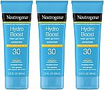 3-Pk 3-oz Neutrogena Hydro Boost Water Gel Sunscreen Lotion SPF 30 $11.75 & More