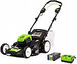 Greenworks MO80L410 Pro 80V 21-Inch Brushless Self-Propelled Lawn Mower 4.0Ah Battery and Charger $385