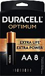 8-Pack Duracell Optimum AA Batteries $3.79 and more