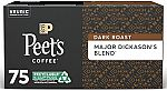 75 Pods Peet's Coffee Major Dickason's Blend K-Cup Coffee Pods (Dark Roast) $26