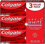 3-Pack 3.2-oz Colgate Optic White Advanced Teeth Whitening Toothpaste $8