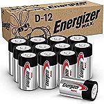 12 Count Energizer MAX D Batteries, Premium Alkaline D Cell Batteries $7.19