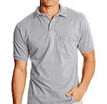 2-Pk Hanes Men's CottonBlend EcoSmart Jersey Polo With Pocket $7.50