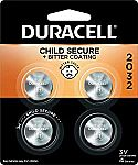 4 count Duracell 2032 3V Lithium Coin Battery with Bitter Coating $4.94