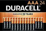 24 Count Duracell CopperTop AAA Alkaline Batteries $10.56
