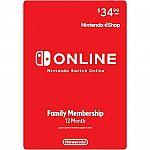 12-Month Nintendo Switch Online Family Membership $34.99