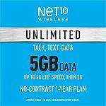 360-Day Net10 Prepaid Wireless Phone Plan + SIM - Unlimited Talk & Text 5GB $150 & More