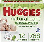 768-Count Huggies Natural Care Sensitive Baby Wipes $15