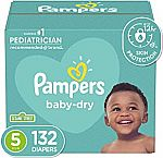 132 Count Size 5 Pampers Baby Dry Disposable Baby Diapers $32